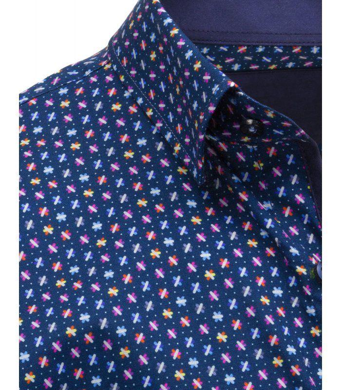 Tmavomodrá pánska košela so vzorom a dlhým rukávom