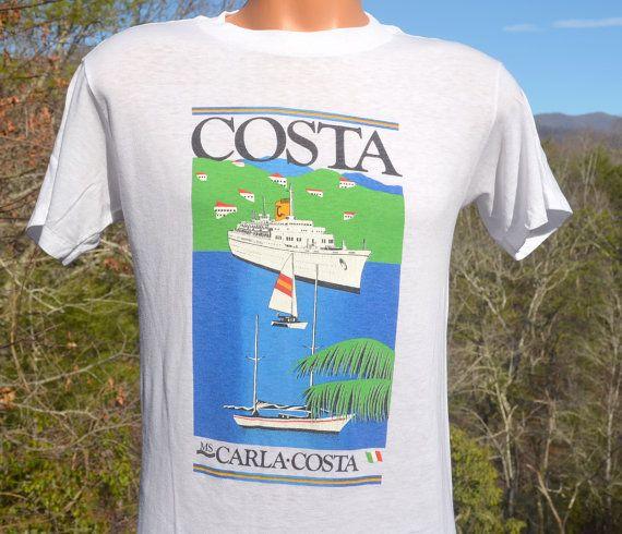 vintage 80s t-shirt carla COSTA cruise ship beach by skippyhaha