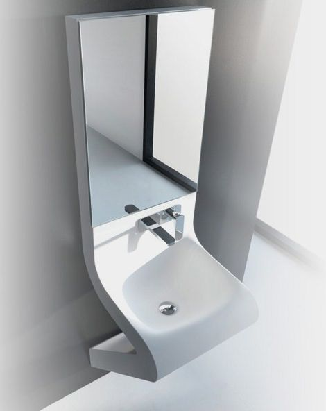 Wash Basin Designs - new Wave washbasin by ArtCeram with integrated mirror cabinet