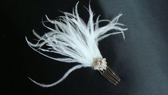 Carla White Bridal Ostrich Feather Comb by Susan Carol Bridal Designs $45.00