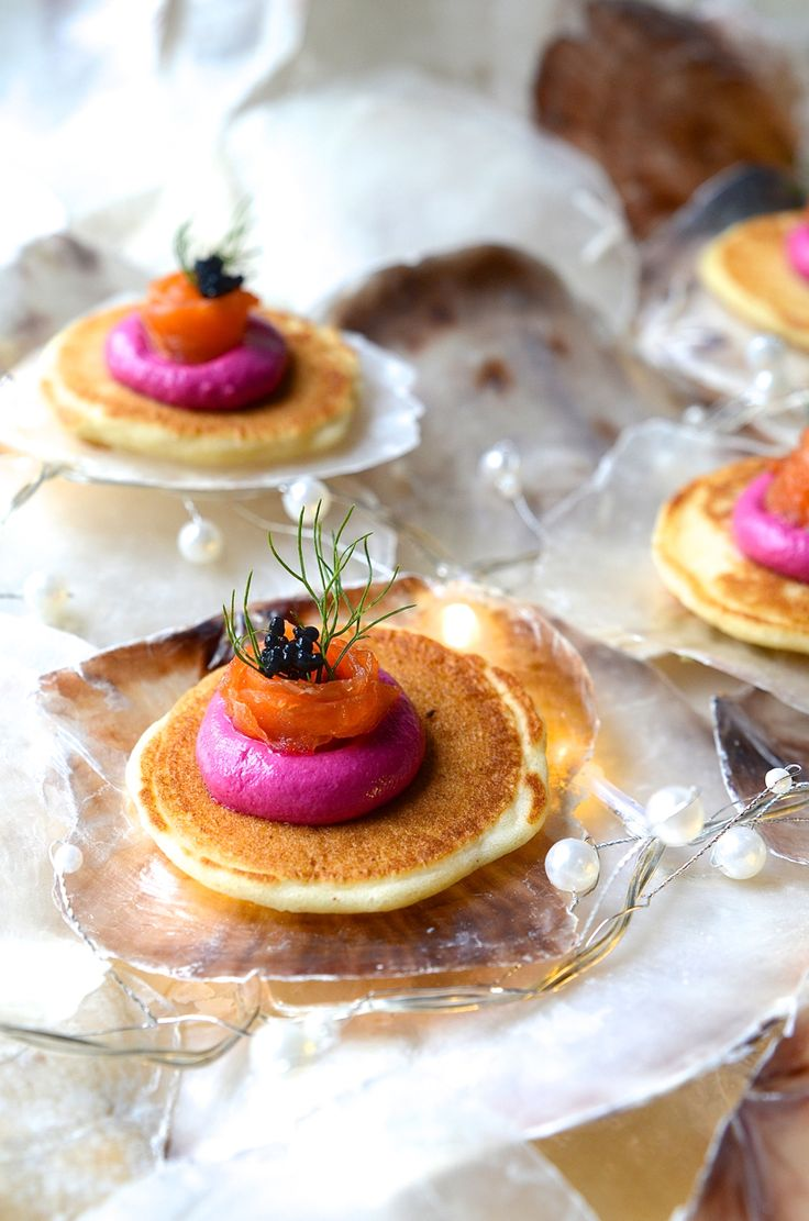 Festive blinis with beetroot and feta paté, smoked salmon ribbons and caviar - Bibby's Kitchen !