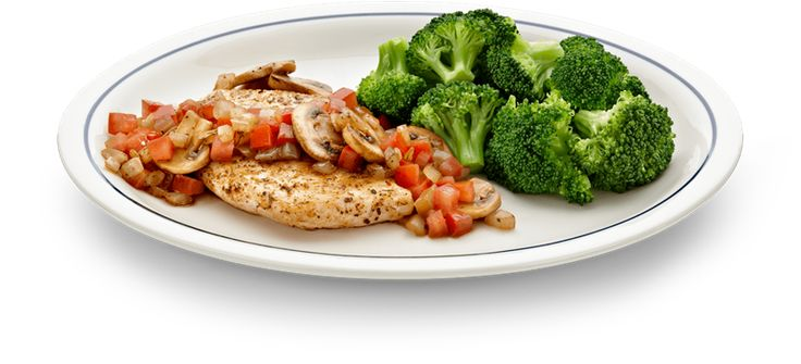 IHOP Simple & Fit Grilled Balsamic-Glazed Chicken A healthy meal of boneless chicken breast with mushrooms, onions and tomatoes, served with broccoli and a house salad with reduced-fat Italian dressing on the side from the SIMPLE & FIT menu at IHOP. 440 calories.