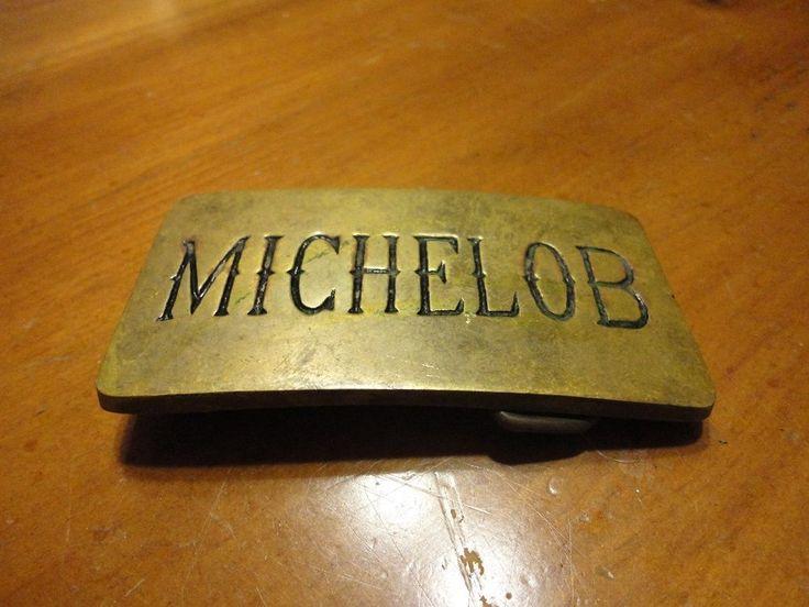 Vintage MICHELOB Beer Brass Belt Buckle (Lot HH)