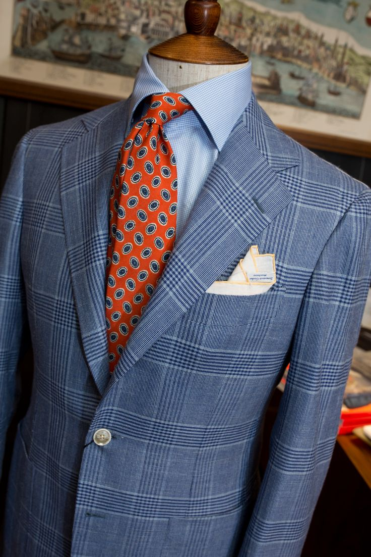 lnsee: Summer is here! Blue Glencheck Blazer by Ring JacketOrange Patterned Tie by Drake's of LondonHoundstooth shirt by Liverano