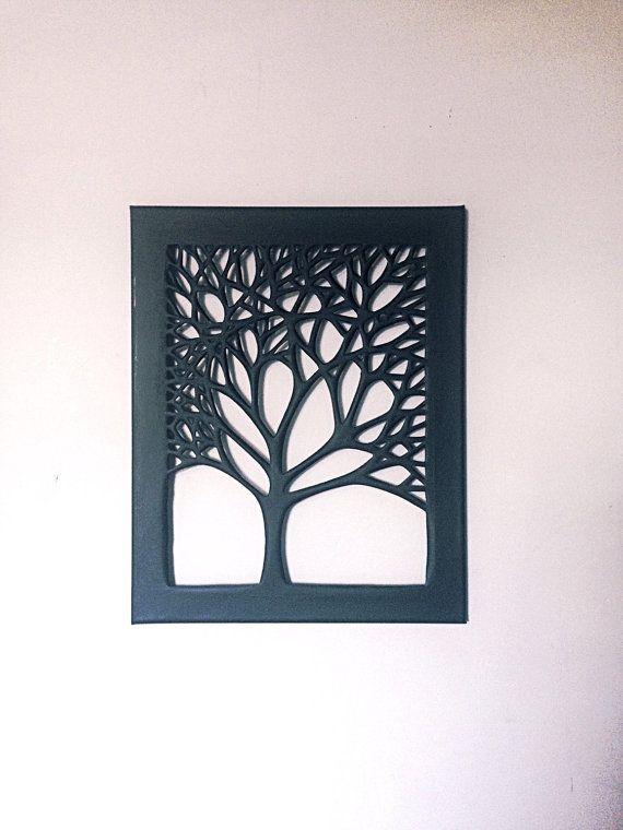 Toile 16 « x 20 » noir coupe arbre. Art mural à la main unique pour votre maison.