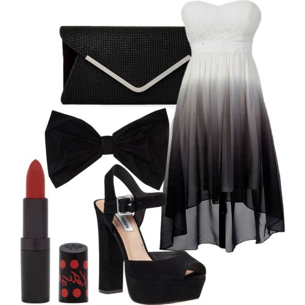 Black and White by sandra-langmair on Polyvore featuring polyvore fashion style Steve Madden PINK BOW Rimmel