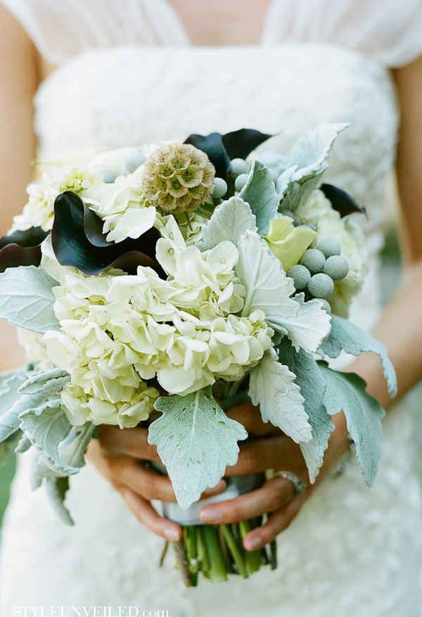 Cool Mint green themed wedding beautifully and unusual bridesmaids bouquet Comment/gemjunkiejewels.
