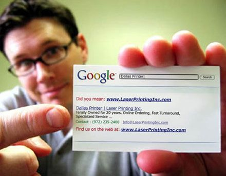Unique business card - I like this type of idea, taking the image of the most popular search engine and transferring it onto a business card, left aligned easy to read, all your info there like you were on the net.