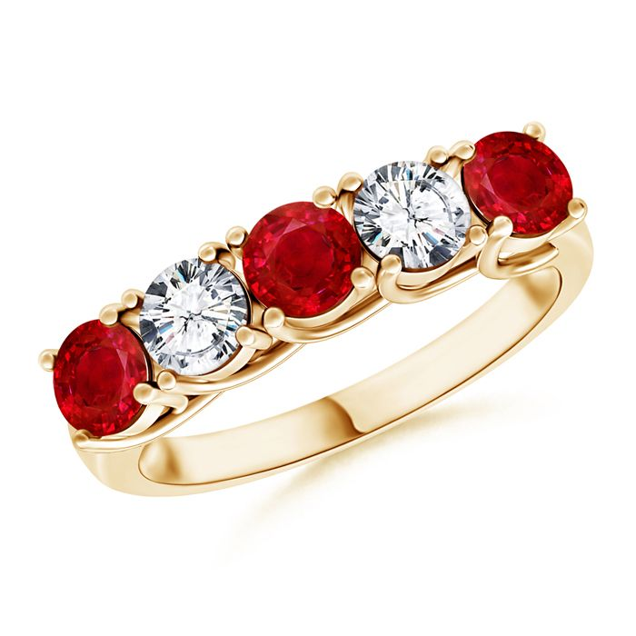 Angara Airline Set Ruby Solitaire Ring With Trio Diamonds in Yellow Gold OqdWe