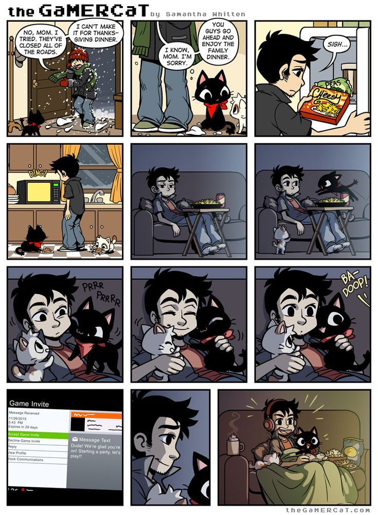 The GamerCat - Home for the Holiday - Love love love! I love this comic, so cute. The cats comforting their owner >w<