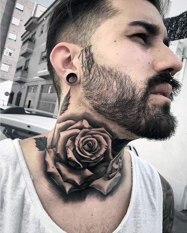 Nice Mens Shaded Rose Neck Tattoos Ultracooltattoos Rose Neck Tattoo Neck Tattoo For Guys Best Neck Tattoos