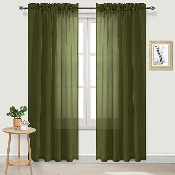 Amazon Com Dwcn Olive Green Sheer Curtains Semi Transparent Voile Rod Pocket Curtains For Bedro In 2021 Green Curtains Green Curtains Living Room Green Sheer Curtains