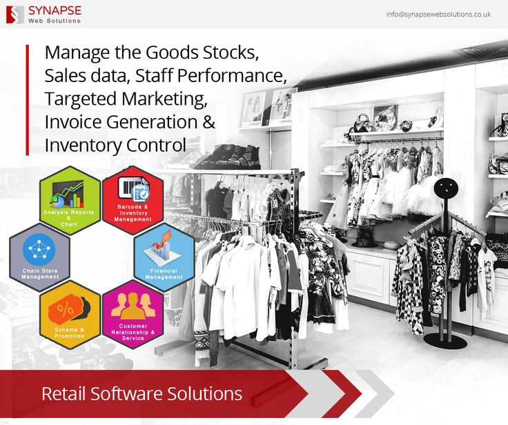 Now effectively manage your goods stocks, sales data, staff performance, targeted marketing, invoice generation & inventory control with our highly customized Retail Software Solutions.   #SynapseWebSolutions #RetailManagement #SoftwareDevelopment