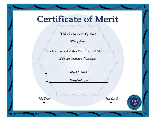 A blue-bordered certificate of merit. Free to download and print