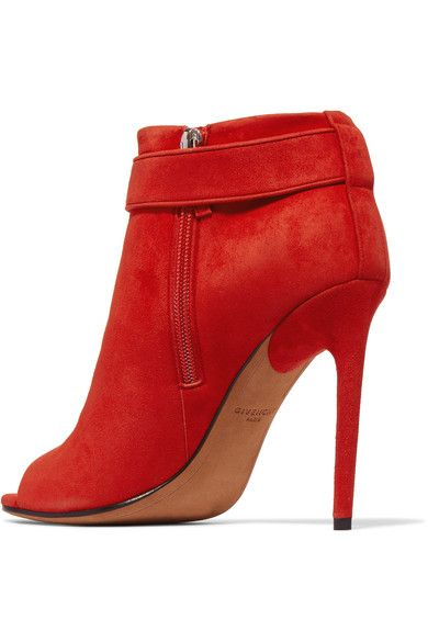 Givenchy - Suede Peep-toe Ankle Boots - Red - IT36.5