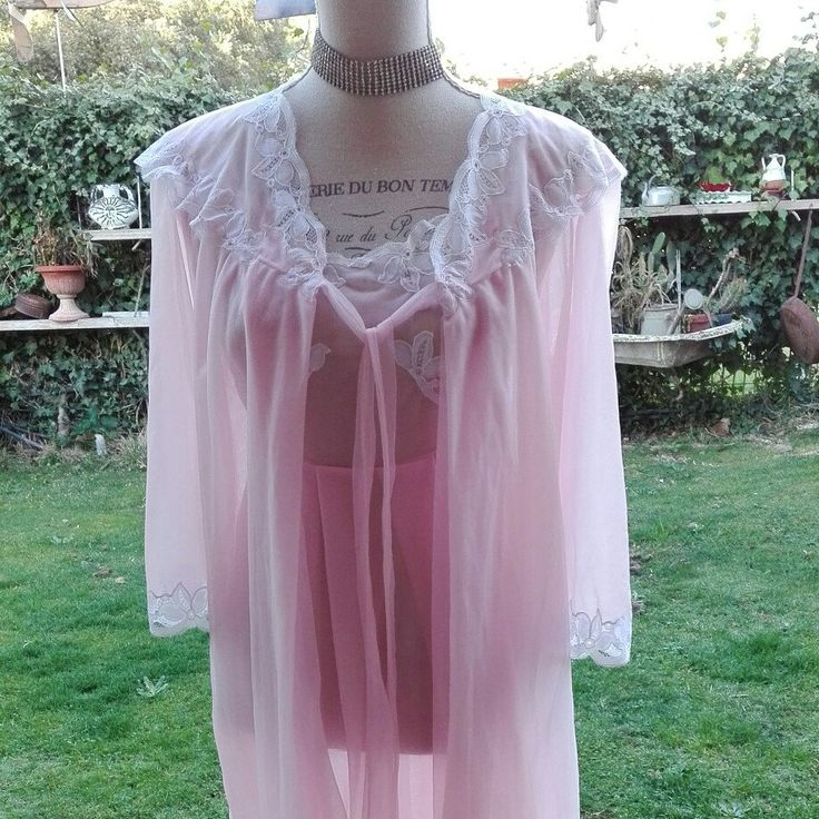 Coordinato VINTAGE introvabile shabby chic rosa pizzo tulle nuvola rosa Dressing gown nightgown woman pink