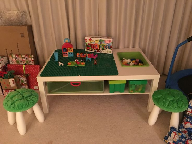 Ikea hack. Lego duplo table for my son.