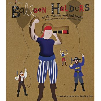 Ahoy There Pirate Balloon Holders: These cute little balloon holders will brighten up any children's party with their swashbuckling, bright characters each colorfully illustrated with pirate costume.