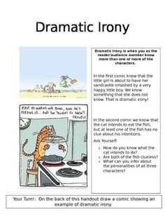 In this handout students learn about dramatic irony through cartoons. They are asked to come up with their own cartoon that depicts an example of dramatic irony.
