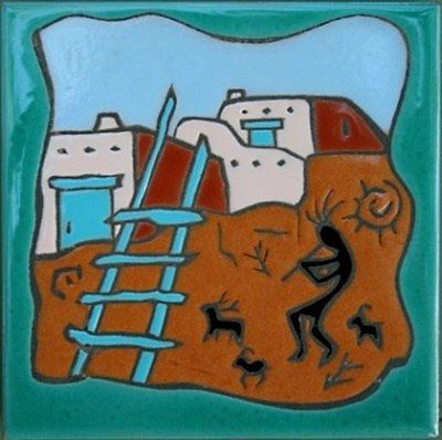 """. Southwestern Art shows classic Santa Fe Casita with Ladder 6"""" x 6"""" New Ceramic Tile Accent your office or home Hand painted tiles Weather Resistant no fading made in U.S.A. Wall or Shelf Accent Hot"""