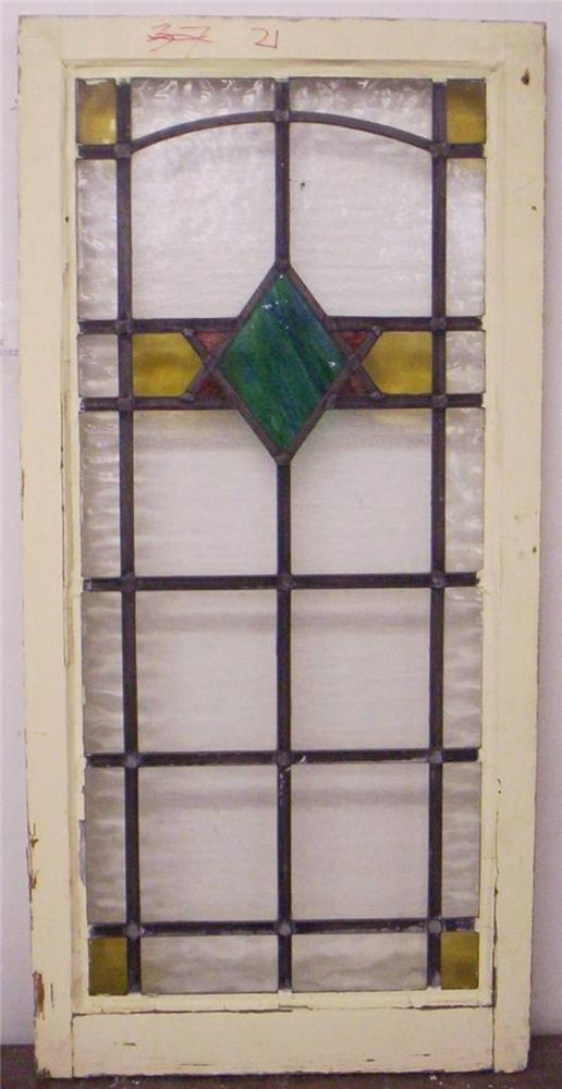 """LARGE OLD ENGLISH LEADED STAINED GLASS WINDOW Diamond Design 19.25"""" x 39.75"""""""