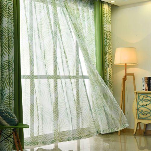 Tropical-Fern-Tree-Leaf-Green-Eyelet-Curtain-optional-Sheer-Curtain-Tie-back