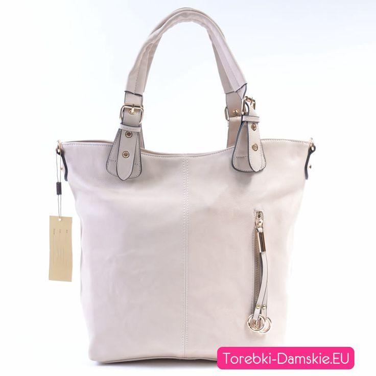 Zdjęcie dużej torebki w kolorze Ecru z kolekcji 2014 naszego sklepu internetowego. Więcej zdjęć: http://torebki-damskie.eu/ecru/468-duza-torba-kolor-ecru-a4.html #torebki #moda