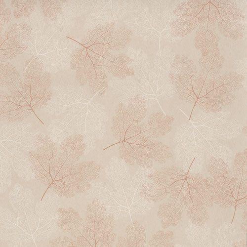 Vacker tapet med skira löv i vitt och koppar på ljus botten från kollektionen Allegro, ALL203. Klicka för fler fina tapeter för ditt hem!