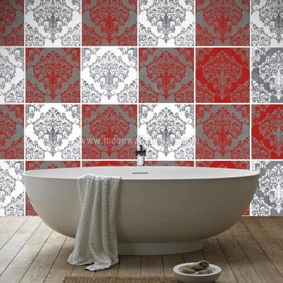 Cover Up The Tile You Red Damask Tiles Stickers Decals By Homeartstickers