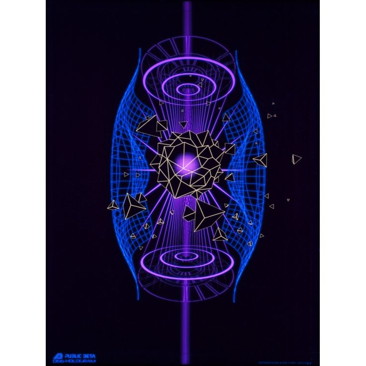 Hologram D66 Wallhanging by Public Beta Wear Hightech style, futuristic, psychedelic designs for wall deco. Glows in blacklight. 3D effect with special Chromadepth glasses. Digital print on woven garment 140g/m2, 100% PES.   #publicbetawear #blacklightart #wallhanging #deco #futuristic