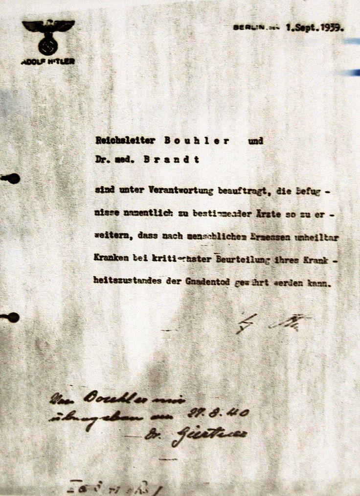 Hitler's order for Action T4, dated 1 September 1939
