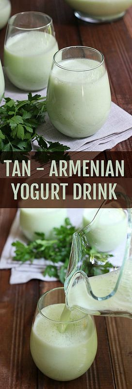 Tan or tahn is perfect for hot summer days. It's made with cucumber, yogurt and water with addition of salt which helps to replace electrolytes. Using herbs is optional but adds a lot of flavor to the drink as well as some healthy nutrients.
