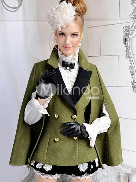 Hunter Green Wool Womens Cloak Coat.  Via Milanoo