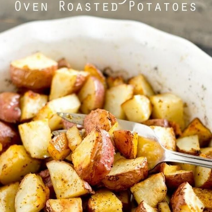 Easy Oven Roasted Potatoes Recipe Side Dishes with small red potatoes, olive oil, salt, garlic powder, black pepper, onion powder