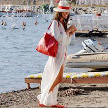 Женщины Sexy Шифон Купальник С Длинным Рукавом Белый Макси Пляжные Платья Дамы Vestidos GS-AQB003(China (Mainland))