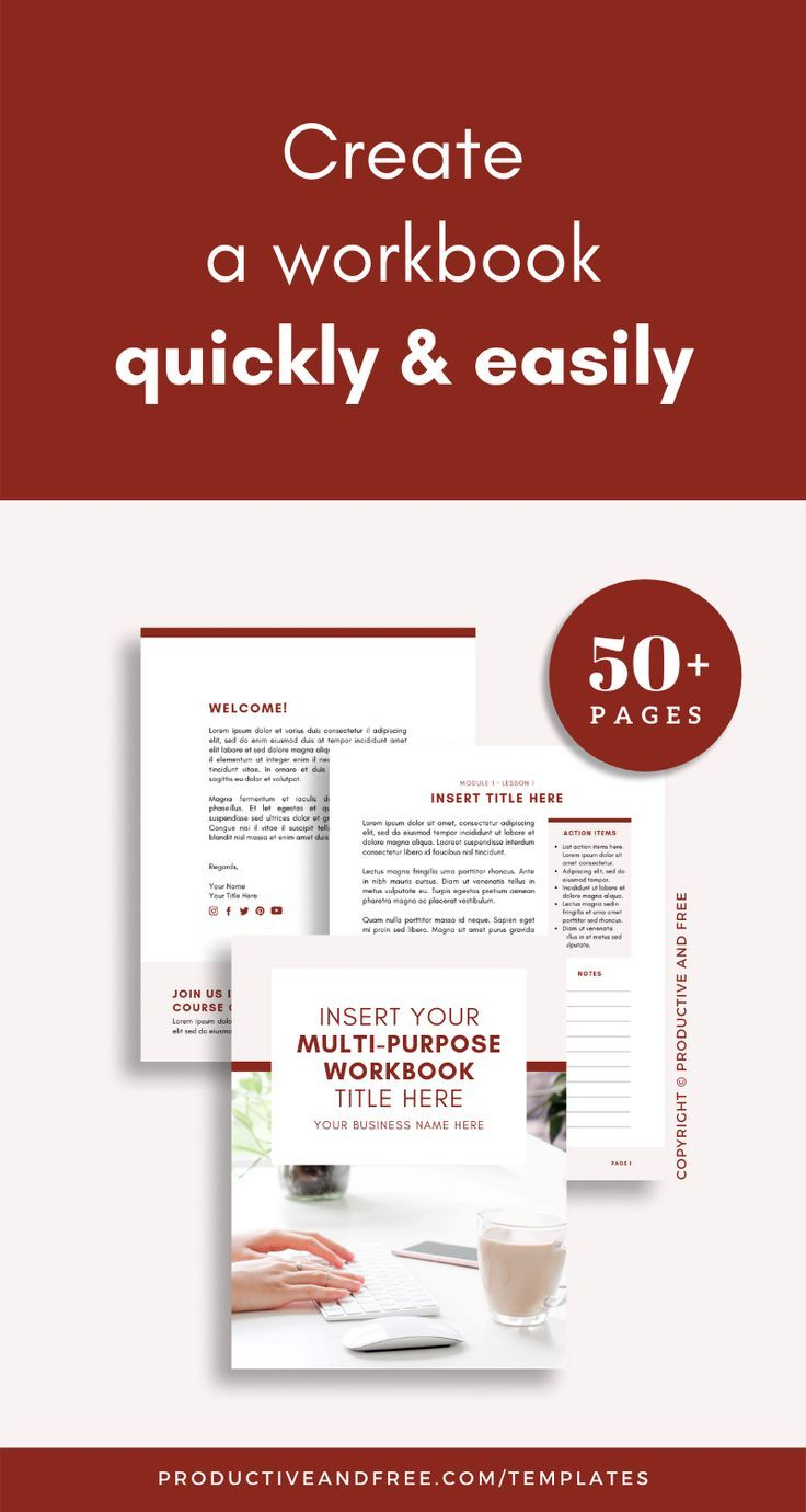 Course Workbook Template Canva — Productive and Free in
