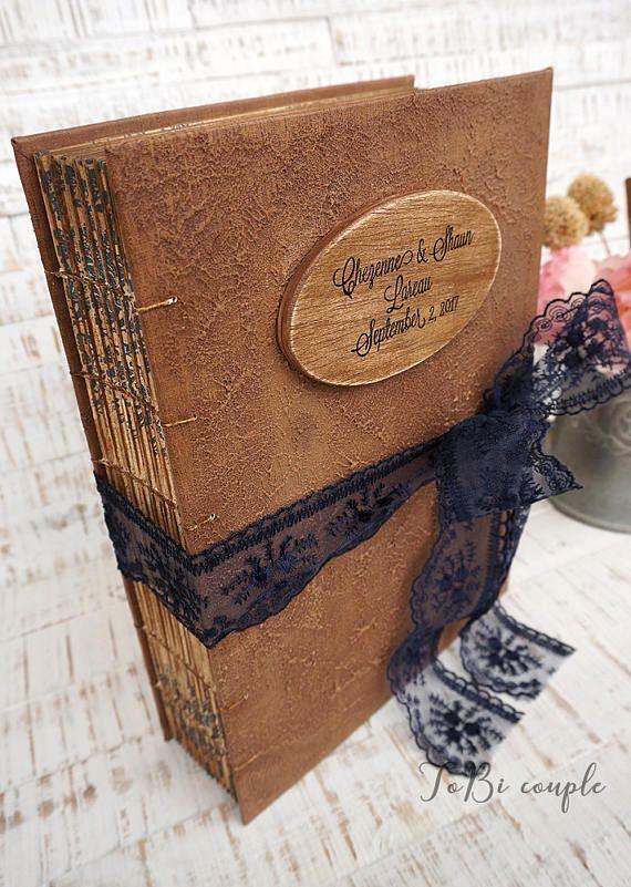 Navy Blue Blush Gold Rustic Wedding Guest Book Photo