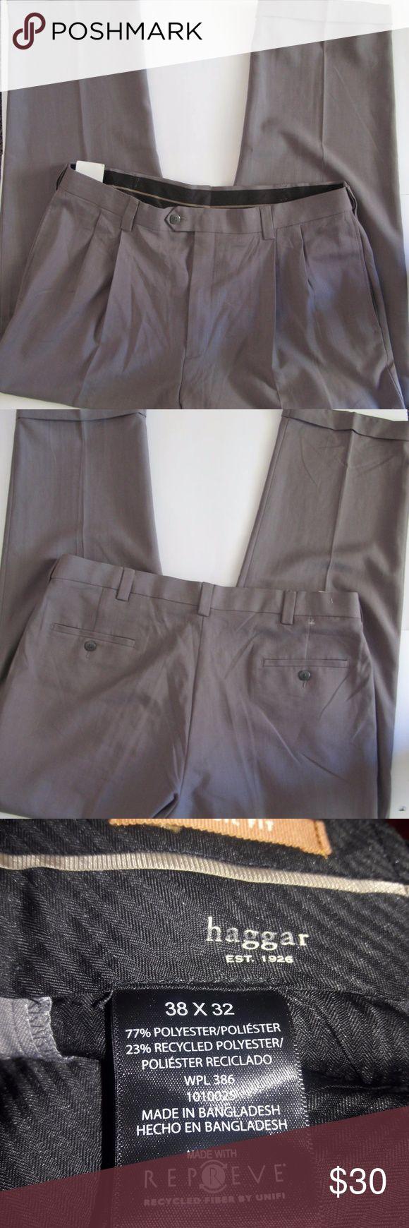 Haggar Mens Guys 38x32 Beige Tan Dress Pants Caree Haggar Mens Guys 38x32 Beige Tan Dress Pants Career Work Trousers Haggar Pants Dress