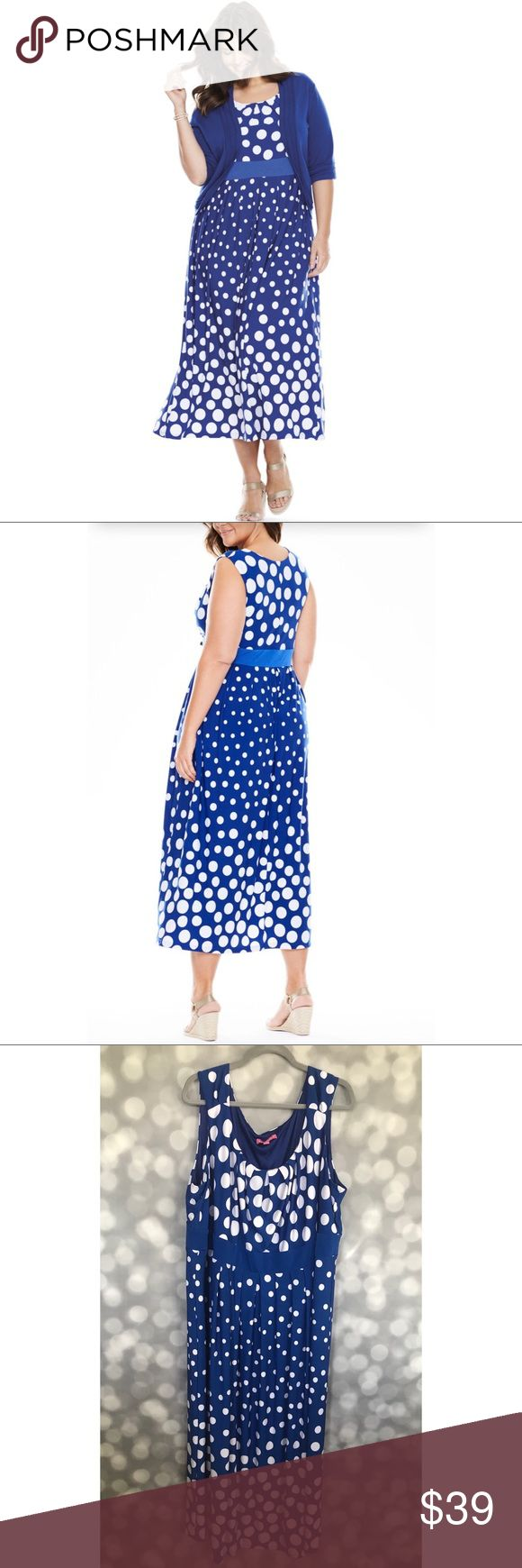 Woman Within Polka Dot Maxi Dress Woman Within Polka Dot Maxi Dress  Blue with White Polka Dots  Size 3X (Runs Large)  Ruched Neckline  Banded Waist  Sleeveless (shrug in stock Photo NOT Included) Woman Within Dresses Maxi