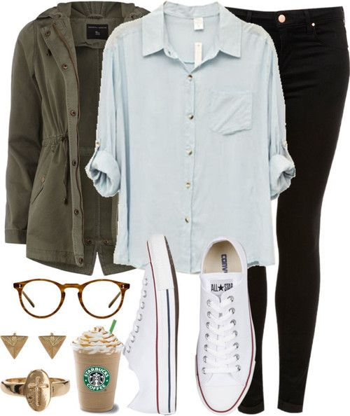 Boyfriend Tee, converse and olive jacket....Zoella Style ♡