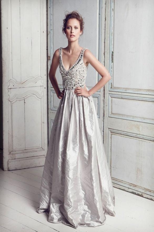 Spectacular grey bridal gown