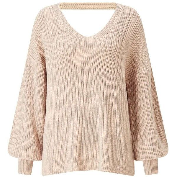 Miss Selfridge Camel Twist Back Balloon Sleeve Knitted Jumper ($61) ❤ liked on Polyvore featuring tops, sweaters, camel, v neck tops, long sleeve tops, long sleeve sweater, camel sweater and acrylic v neck sweater