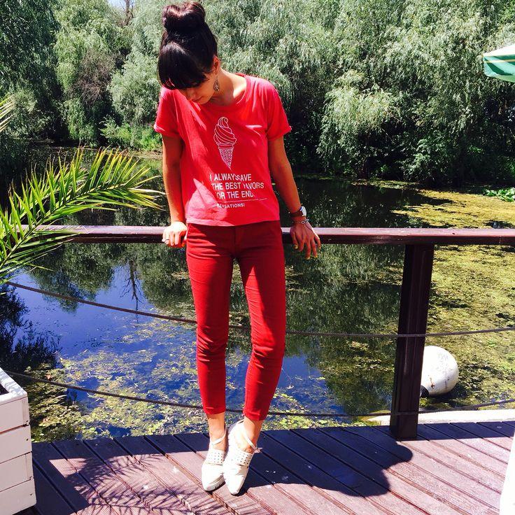 Tinuta casual cu tricou Mango, pantaloni Mango, balerini depurtat.ro