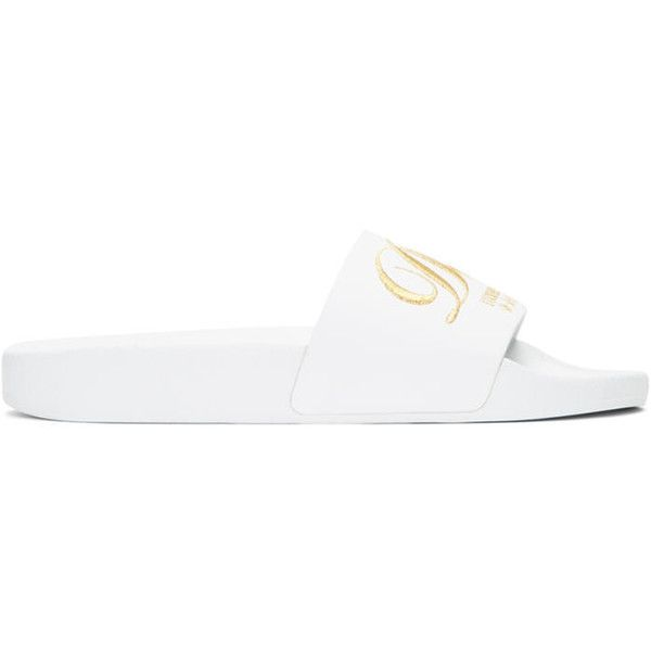 Dolce and Gabbana White Luxury Hotel Velvet Slide Sandals ($315) ❤ liked on Polyvore featuring shoes, sandals, white, white slide sandals, velvet sandals, slip on shoes, white slip on shoes and white sandals