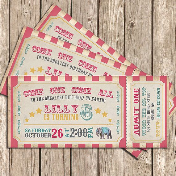 Circus Invitation Girl Pink Vintage Circus Ticket - Printable Invitation on Etsy, $12.00