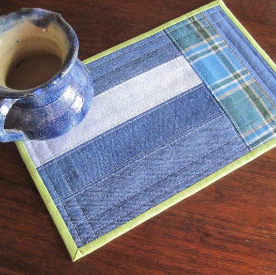 Mug rug, upcycled denim strips with blue and green plaid