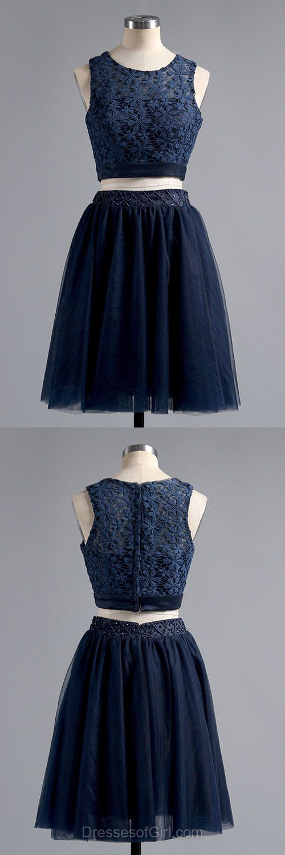 Lace Prom Dresses, Two Piece Formal Dresses, Tulle Evening Dresses, Navy Blue Homecoming Dresses, Short Graduation Dresses