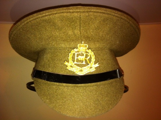 Royal Military Police.  This 1950s era hat has a red cover that is symbolic of the RMP.
