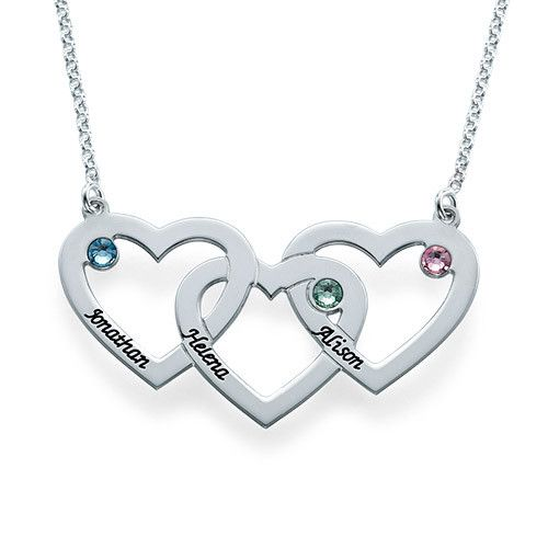 We have found the perfect gift for moms everywhere, the Intertwined Hearts Necklace with Birthstones! You asked for a third heart on the original double heart necklace design and we have delivered! Now you can engrave up to three hearts, as well as choose a birthstone for each heart. Moms can keep their kids close no matter how far they are. Even if you are not a mom, you will still love this necklace! Inscribe the things that make you think ...