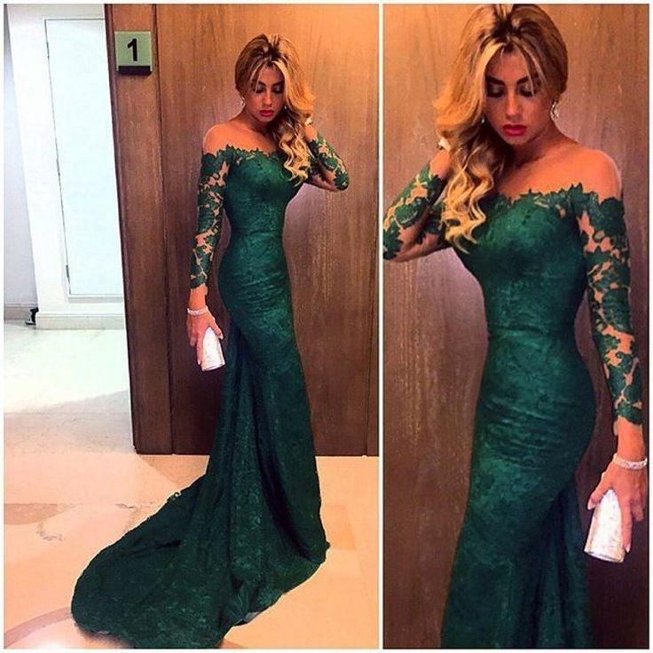 2016 Dark Green Mermaid Lace Evening Dresses Custom Made Vestidod e festa Long Sleeves Prom Dress Formal Gown robe de soiree